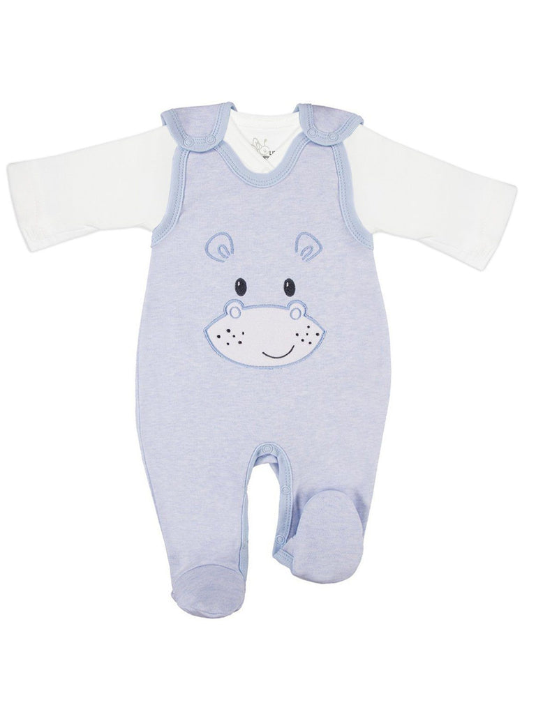 Wrapover Top & Hippo Footed Dungarees Set - Blue (3-5lb & 5-8lb)