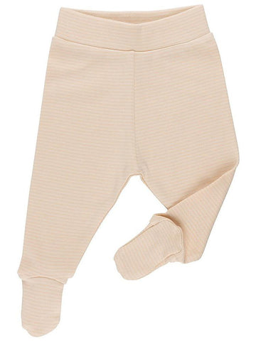 GOTS Certified Organic Nude Stripe Footed Trousers (Newborn 7-9lb & 0-3 months)