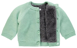 Chunky Knitted Fluffy Lined Jacket - Mint (Tiny Baby, 4-7lb)