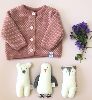 Knitted Pink with flecks Soft Cardigan (Tiny & 0-3 months)