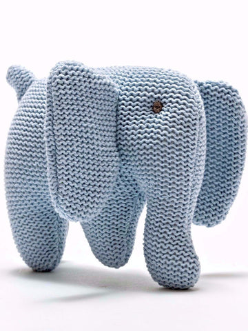 Organic Cotton Elephant Baby Rattle - Blue - rattle - Under The Nile - Little Mouse Baby Clothing & Gifts