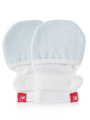 Stay On Anti-Scratch Mittens - Blue Dots (0-3 Months) - Scratch Mitts - Goumikids