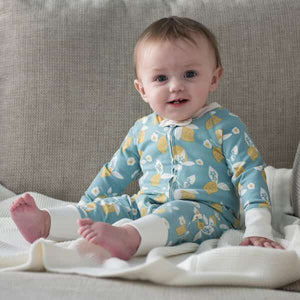 Organic Cotton Zip Up Lemon Sleepsuit (3 sizes)