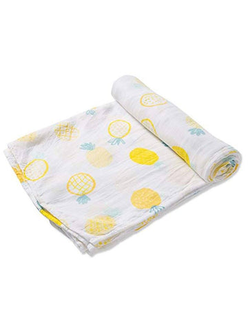 Large Lemon and Pineapple Bamboo Muslin Swaddle