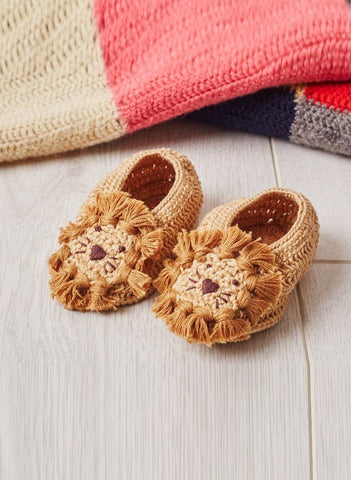 Crochet Lion Booties, 0-6 months - Booties - Albetta UK - Little Mouse Baby Clothing & Gifts