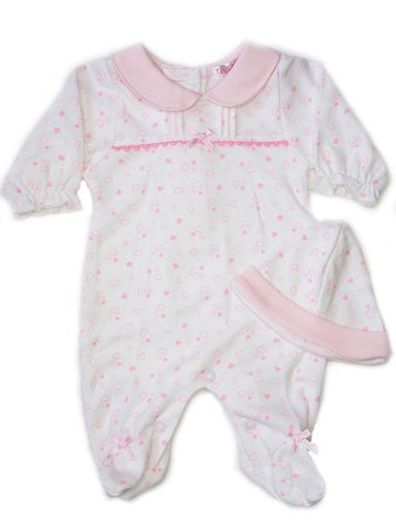 Pink Heart Design Footed Sleepsuit & Hat Set 3-5lbs & 5-8lbs