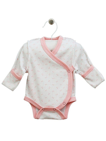 Pink Bow Wrapover Long Sleeve Vest (3-5lbs)