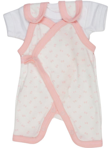 Premature Pink Bow Wrap Dungaree and White Short Sleeve Vest (3-5lbs)