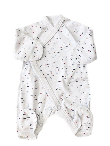 Grey Bow Wrapover Design Footed Sleepsuit 3-5lbs