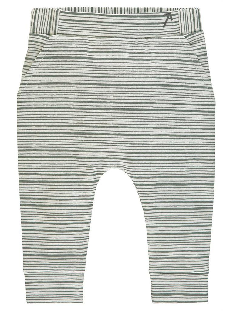 Organic Cotton Trousers - Mint and grey stripe (4-7lb)