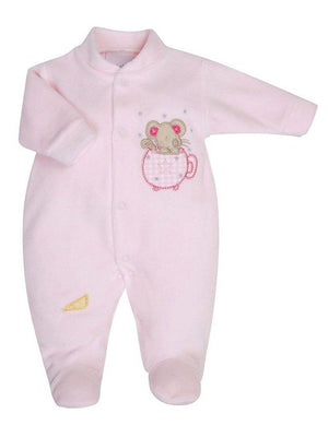 Pink Velour Mouse in Teacup Sleepsuit 3-5lbs & 5-8lbs