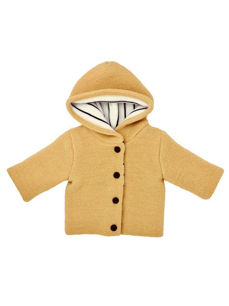 Mustard Knitted Baby Jacket with Breton Stripe