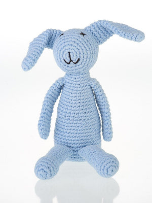 Bunny Rabbit Crochet Fair Trade Rattle Toy - Pastel Blue