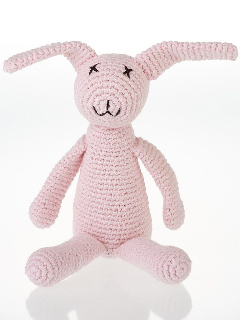 Bunny Rabbit Crochet Fair Trade Rattle Toy - Pastel Pink