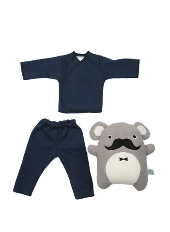 Navy top, trousers & dapper toy (Premature Baby Gifts)