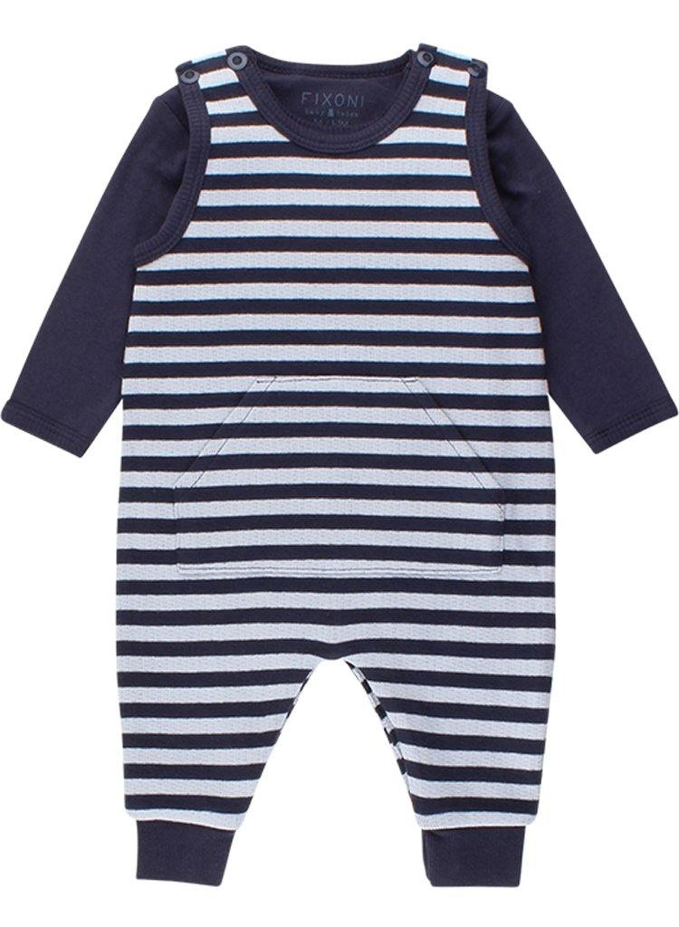 Navy Blue Striped Romper & Bodysuit (4lb-7lb)