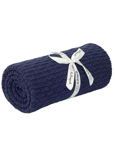 Navy Bamboo/Cotton Blanket - 100 x 80cm