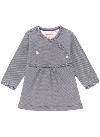 Navy Thin Stripe Wrapover Dress (Tiny Baby)