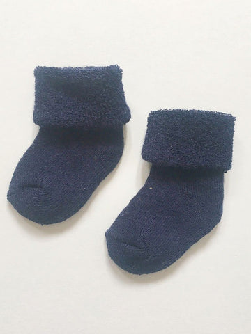 Tiny Baby Socks - Navy Terry Towelling