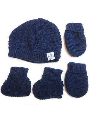 Tiny Baby Knitted Hat, Mittens & Booties Set - Navy (4-7lb) - Hat, Mitts & Booties Set - La Manufacture de Layette