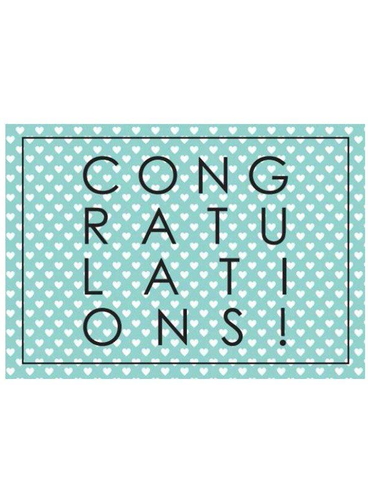 Congratulations, Hearts & Teal - New Baby Card