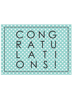 Congratulations, Hearts & Teal - New Baby Card - New baby card - Little Mouse Baby Clothing & Gifts