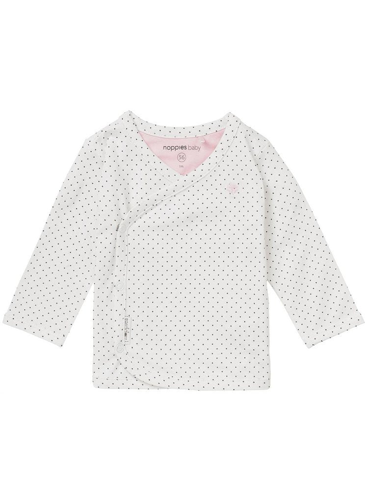White Spotty Wrap-over Top (Tiny Baby & 1-2 Months)