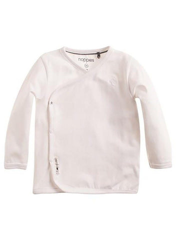 Long Sleeve Wrap-over Top - White (Tiny Baby & Newborn)