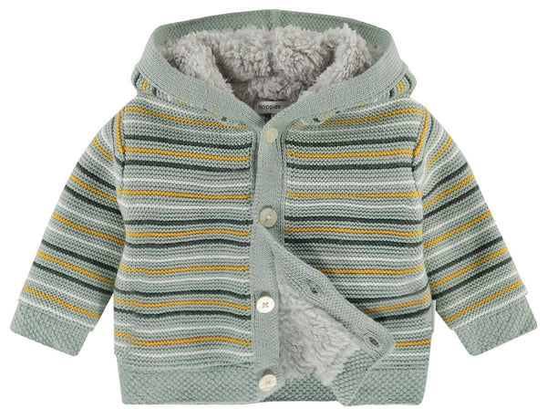 Stripy Knitted Fluffy Lined Cardigan/Coat (Mustard & Green) - Organic Cotton (4-7lb)