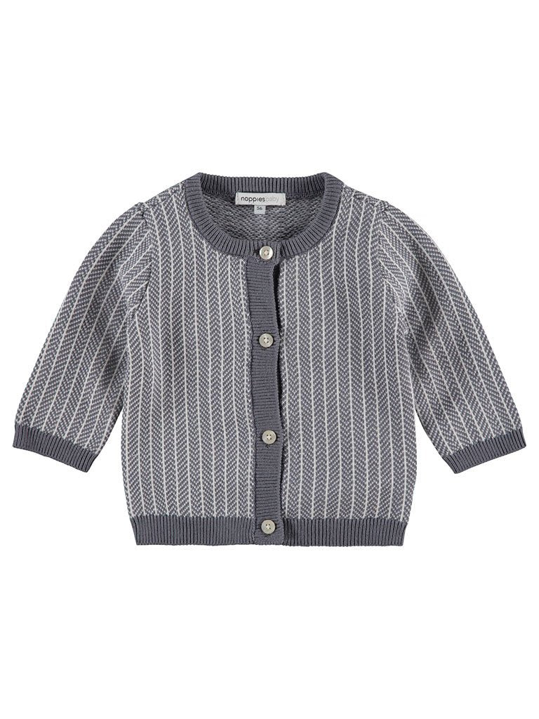 Organic Cotton Knitted Cardigan - Grey (4-7lb)