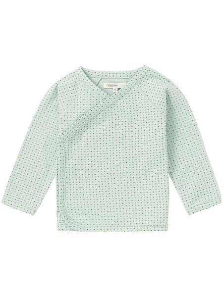 Organic Cotton Mint Cross Long Sleeve Wrap Top (Tiny Baby)