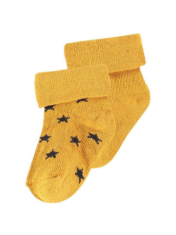 Socks 2 Pack - Mustard and Star (0-3 Months)