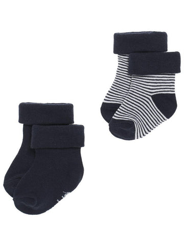 Socks 2 Pack - Navy and Stripe (0-3 Months)