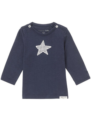 Navy Blue Star Long Sleeve T-Shirt - Organic Baby