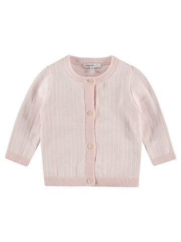 Organic Cotton Knitted Cardigan - Pale pink (Tiny, 4-7lb)