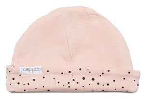 Dusky Pink With Black Dots Hat - Reversible (Tiny Baby, 4-7lb)