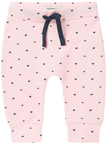 Soft Jersey Trousers - Pink Heart Print - trousers - Noppies - Little Mouse Baby Clothing & Gifts