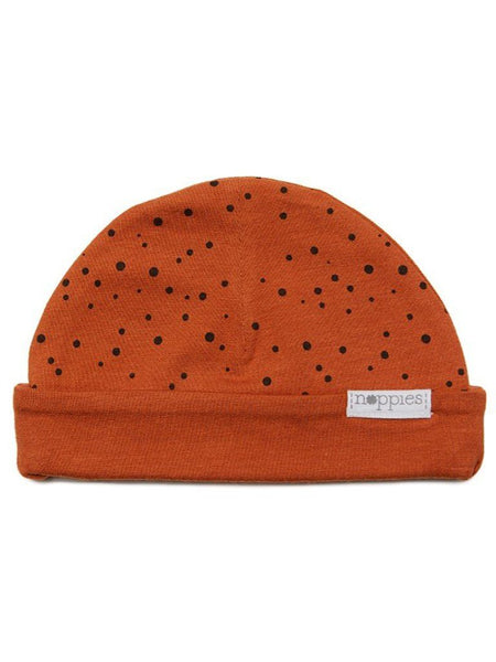 Rust Polka Dot Hat - Reversible (Tiny Baby, 4-7lb)