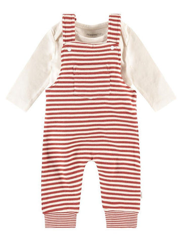 Organic Cotton Rust Stripe Dungaree & Vest Set (Tiny Baby, 4-7lb)