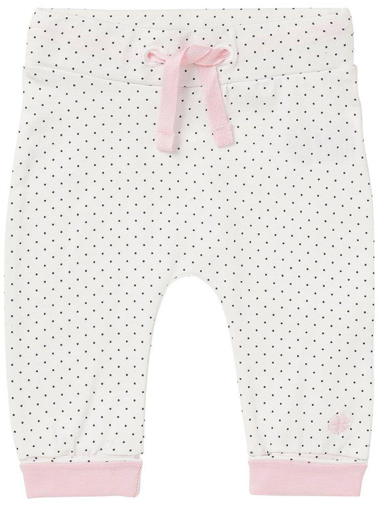 Soft Jersey Trousers - White Spotty Print, Pink Cuffs (4-7lb)
