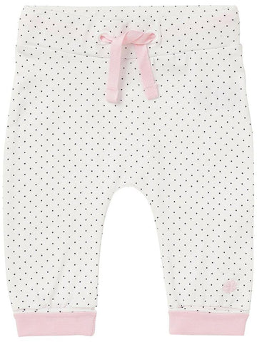 Soft Jersey Trousers - White Spotty Print, Pink Cuffs (Tiny Baby)