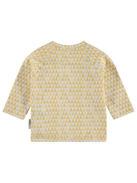 Mustard Triangle Print Long Sleeve Wrap Top, Organic (Tiny Baby)