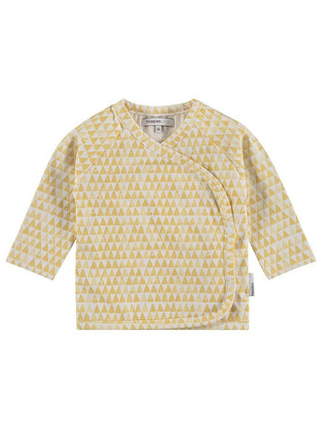 Organic Cotton Mustard Triangle Print Long Sleeve Wrap Top.
