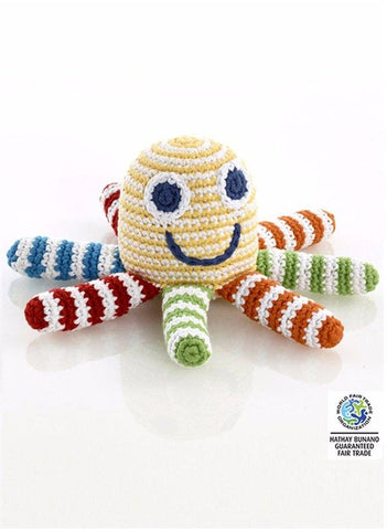 Octopus Crochet Rattle Toy - Yellow Rainbow Stripe - rattle - Pebble Toys - Little Mouse Baby Clothing & Gifts