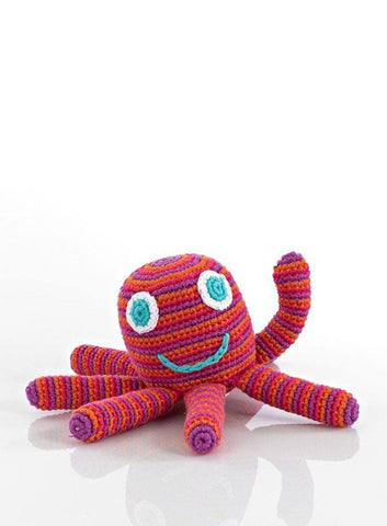 Octopus Crochet Rattle Toy - Red/Purple Stripe - rattle - Pebble Toys - Little Mouse Baby Clothing & Gifts