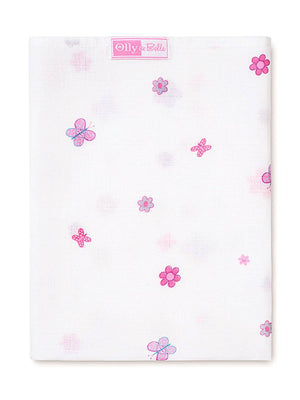 Floral Butterfly Print 100% Cotton Muslin Square by Olly & Belle