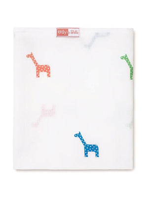 Giraffe Print 100% Cotton Muslin Square by Olly & Belle