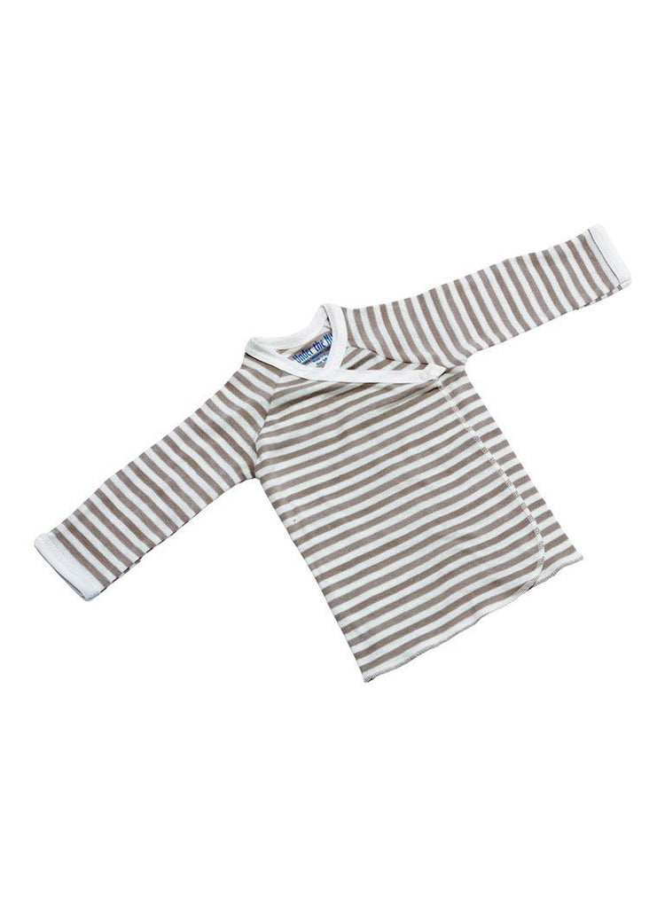 Organic and Fair Trade Wrap-over  T-shirt - Tan Stripe - vest - Under The Nile - Little Mouse Baby Clothing & Gifts