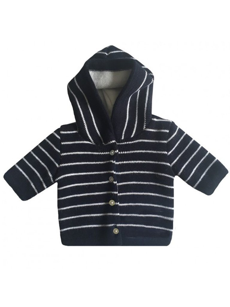 Navy Knitted Jacket with White Stripe (Tiny/Newborn & 0-3 Months)