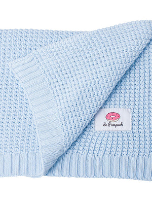 100% Cotton Blue Knit Blanket - 100 x 80cm